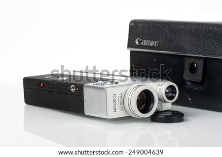 BANGKOK, THAILAND - FEBRUARY 02, 2015: The CINE CANONET 8, 8mm movie camera from Canon. - stock photo