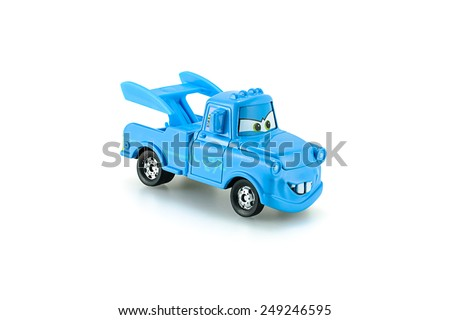 Bangkok,Thailand - February 02, 2015: Tow Mater plain blue a main protagonist of the Disney Pixar feature film Cars. A diecast cars collection from Takara Tomy. - stock photo