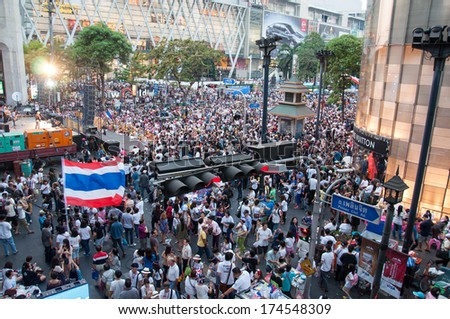 BANGKOK THAILAND - FEBRUARY 2 : Unidentified protesters gather Ratchaprasong intersection to anti government and not voting in the day of the election on Feb 2, 2014 in Bangkok, Thailand.