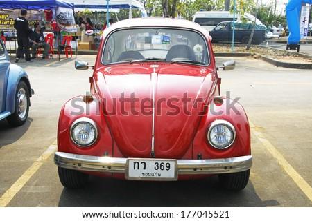 BANGKOK, THAILAND - FEBRUARY 15 : Volkswagen retro vintage car display in Siam VW festival 2014 on February 15, 2014 in Bangkok Thailand. - stock photo