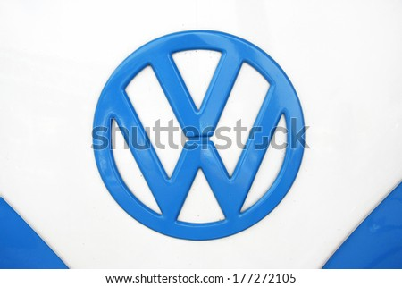 BANGKOK, THAILAND - FEBRUARY 15 : Volkswagen retro vintage car display in Siam VW festival 2014 on February 15, 2014 in Bangkok Thailand. - stock photo