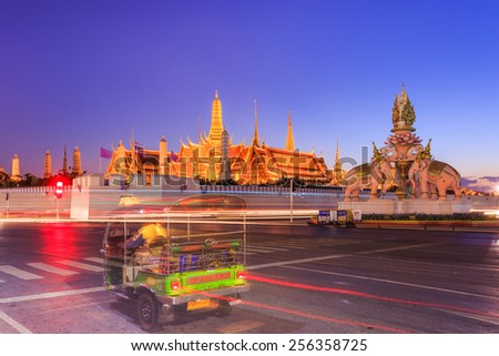 Bangkok, Thailand - February 22, 2015: Wat Phra Kaeo or Grand Palace, landmark of Thailand, many tourists from around the world come to visit and enjoy traditional Thai culture and architecture.  - stock photo