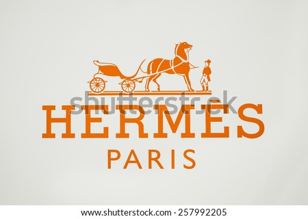 "Bangkok, Thailand - Feburary 28, 2015:  logo of the brand ""Hermes"" at Siam Paragon in ""FESTIVAL DES METIERS A RENDEZVOUS WITH HERMAS CRAFTSPEOPLE"" event"