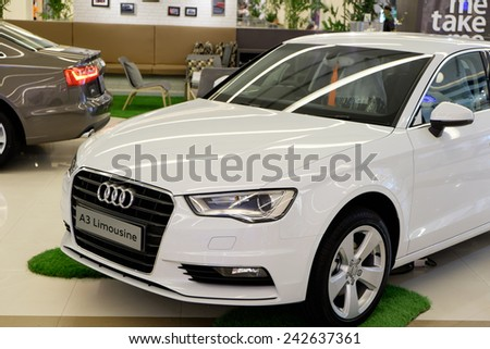BANGKOK, THAILAND - JAN 08 2015 : Audi A3 on display at The showroom in Siam Paragon which is the biggest shopping mall in Thailand. - stock photo
