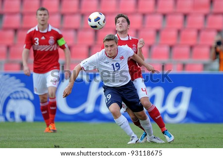 BANGKOK THAILAND-JAN 15: Ruben Jenssen (19) of Norway  in action during the 41st King's cup football tournament between Norway and Denmark at Rajamangala stadium on Jan 15, 2012 in Bangkok, Thailand.