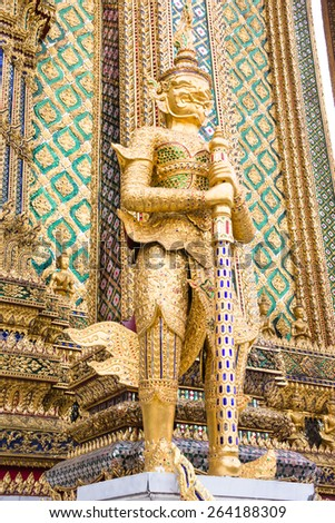 BANGKOK, THAILAND - JAN 25 : The golden demon guardian at Wat Phra Kaew Grand Palace on January 25, 2015 in Bangkok, Thailand.