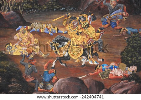 BANGKOK - THAILAND - January 03: A scene from the Ramakien in Wat Phra Kaew, Bangkok, Thailand on January 03, 2015. The Ramakien is Thailand's national epic, derived from the Hindu epic Ramayana. - stock photo