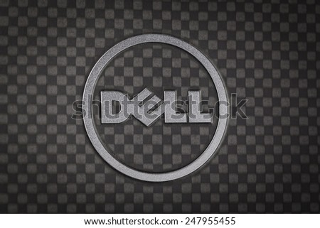BANGKOK THAILAND - JANUARY 25 : Dell logo made from stainless steel on notebook cover black color, in Bangkok, Thailand on January 25, 2015 - stock photo
