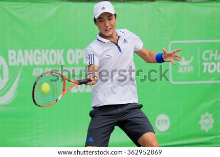 Bangkok,Thailand-January 10 : G. Soeda (JPN) action in KPN Bangkok Open ATP Challenger Tour 2016 (1) $50,000. at Rama Gardens Hotel on Jan 10, 2016 in Bangkok, Thailand. He defeated Youshny (RUS)