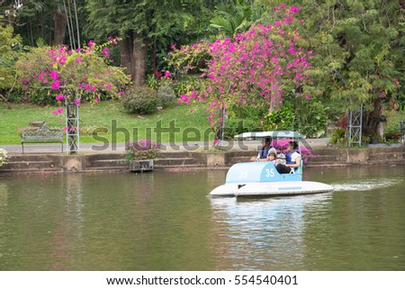 BANGKOK, Thailand - January 7, 2017: Lovely asian family wearing purple life jackets and riding pedal blue boat in Dusit zoo's pond with beautiful green trees and pink bougainvillea flowers