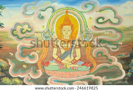 BANGKOK ,THAILAND - JANUARY 17 : masterpiece of traditional Thai style painting art old about Buddha story on temple wall at Trimit temple on January 17, 2015 in Bangkok, Thailand - stock photo