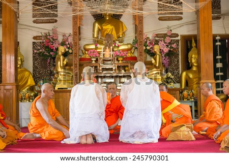 BANGKOK,THAILAND January 19: Newly ordained Buddhist monk pray with priest procession. Newly ordained Buddhist monks have a ritual in the temple procession in January 19, 2015 - stock photo
