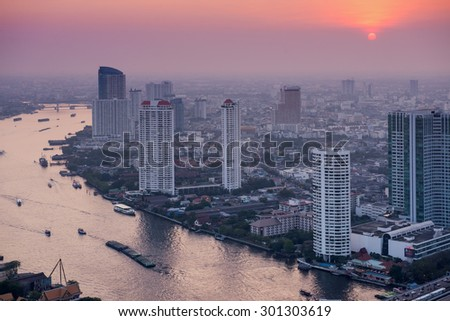 BANGKOK, THAILAND - January 29. Panorama view over Bangkok on January 29, 2013 in Bangkok, Thailand. Bangkok is the biggest city in Thailand with 7,02 million inhabitants. - stock photo