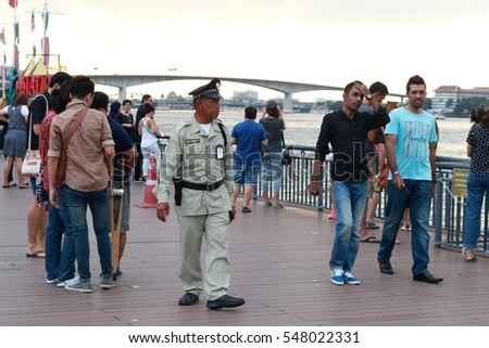 Bangkok, Thailand - JANUARY 2, 2017: People come to taking picture  at Asiatique The Riverfront on January 2, 2017 in Bangkok, Thailand.