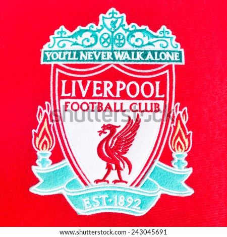 BANGKOK, THAILAND - JANUARY 08, 2015: red pillow with Liverpool logo on 8 January 2015 in Bangkok Thailand.