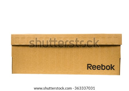 Bangkok Thailand-January 10,2016: Reebok sign on brown cardboard box isolated on white background,Most famous sport  footwear.