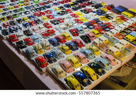 BANGKOK,THAILAND - JANUARY 12,2017 : selling car toy model at Jatujak Green night market