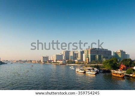 Bangkok, Thailand - JANUARY 4, 2016: Siriraj Hospital on the Chao Phraya River, one of the oldest and the most famous hospital in Thailand, it was founded since 1888.