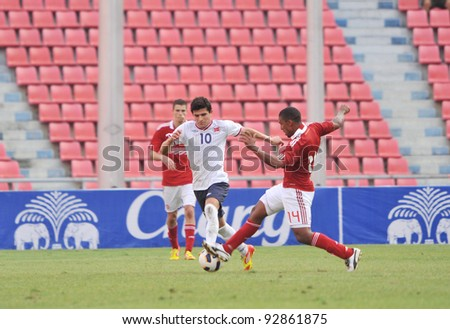 BANGKOK THAILAND - JANUARY 15 : T.Elyounoussi (L) in action during KING'S CUP 2012 between Denmark vs Norway on January 15, 2012 in Rajamangla Stadium,Bangkok, Thailand.
