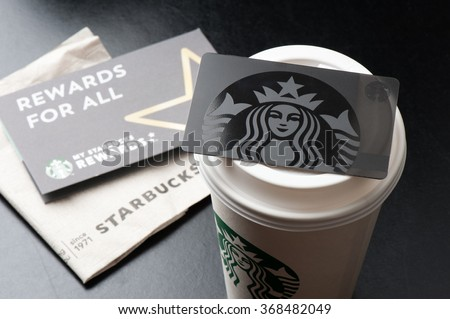 BANGKOK, THAILAND - JANUARY 28, 2016: The Starbucks card in Thailand.