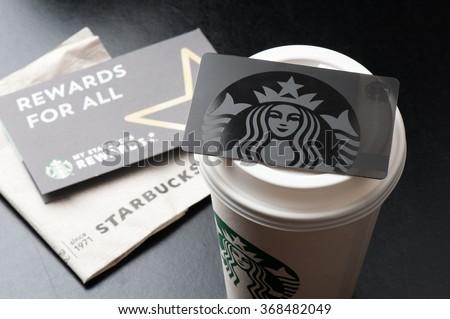 BANGKOK, THAILAND - JANUARY 28, 2016: The Starbucks card in Thailand. - stock photo