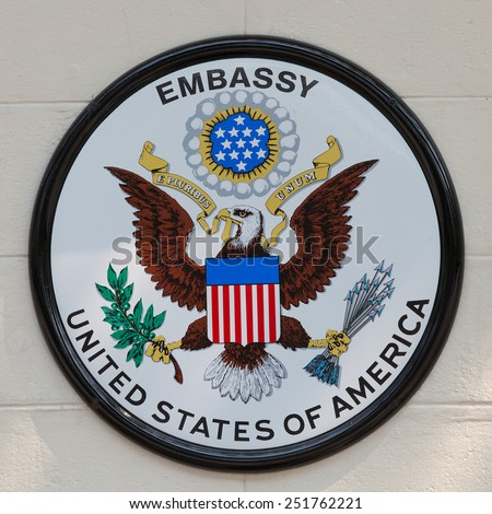 BANGKOK,THAILAND - JANUARY 8, 2015: The USA embassy sign. The embassy is located on Wireless Road in the heart of Bangkok. - stock photo