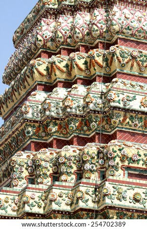 BANGKOK-THAILAND-JANUARY 1 : Traditional Thai style decoration of tile & stucco on the big pagoda in wat pho temple on January 1, 2015 Bangkok, Thailand
