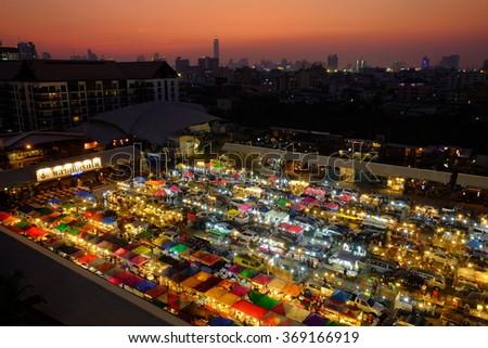 Bangkok, Thailand - 27 January 2016 : Train Night Market Ratchada in Bangkok, Thailand  - stock photo