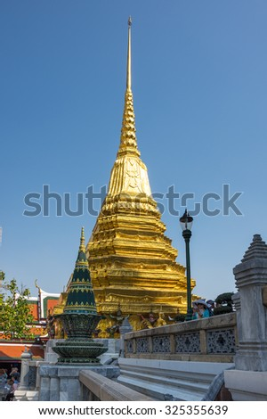 BANGKOK, THAILAND - JANUARY 24, 2015: Wat Phra Kaew in Bangkok, Thailand. Wat Phra Kaew or Temple of the Emerald Buddha is regarded as the most sacred Buddhist temple in Thailand - stock photo