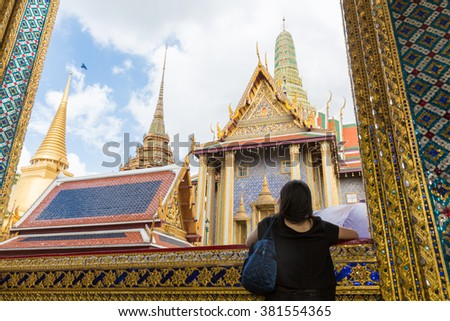 BANGKOK, THAILAND - JANUARY 19, 2016: Wat Phra Kaew in Bangkok, Thailand. Wat Phra Kaew or Temple of the Emerald Buddha is regarded as the most sacred Buddhist temple in Thailand - stock photo