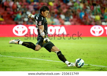 BANGKOK THAILAND- Jul 30: Goalkeeper Kawin Thamsatchanan  of Muangthong UTD look on during the LFP World Challenge 2014 between Muangthong UTD. and UD Almeria at SCG Stadium on July 30,2014 in Thailand.  - stock photo