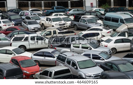 Bangkok, Thailand - Jul 9, 2016: Many vehicles are parking at a facility in Chatuchak district, Bangkok, Thailand.
