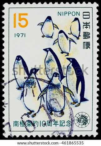 "BANGKOK, THAILAND - JULY 25, 2016: A postage stamp printed in Japan shows adelie penguin, series ""10th Anniversary of Antarctic Treaty"", circa 1971."
