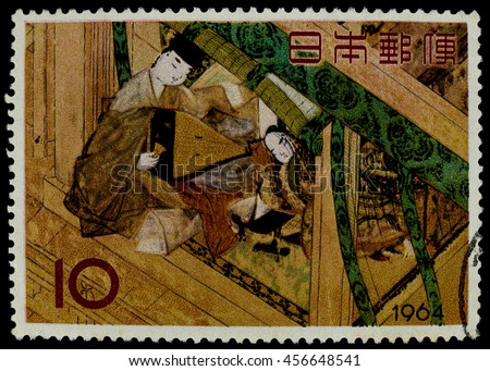 "BANGKOK, THAILAND - JULY 18, 2016: A postage stamp printed in Japan shows tale of Genji picture, series ""Philatelic Week"", circa 1964."