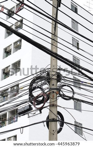 BANGKOK THAILAND - JULY 1.2016 : A tangle of electric.telephone,mobile,internet cable - stock photo