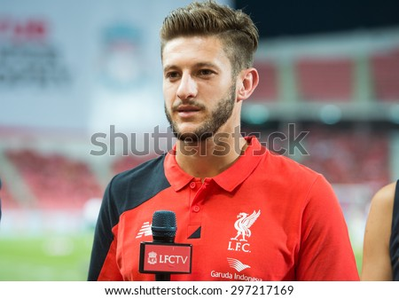 BANGKOK THAILAND JULY 14 :Adam Lallana of Liverpool speaks during before the international friendly match Thai All Stars and Liverpool FC at Rajamangala Stadium on July14,2015 in,Thailand. - stock photo
