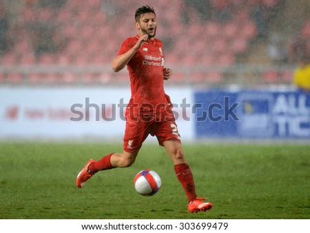 BANGKOK THAILAND JULY 14 : Adam Lallana player of Liverpool in action during the international friendly match Thai All Stars and Liverpool FC at Rajamangala Stadium on July14,2015 in,Thailand. - stock photo