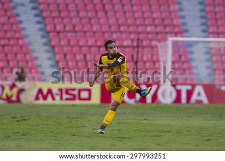 BANGKOK,THAILAND:JULY 2015:Adisak Kanu of Osotspa poses during football Thai Premier League between Osotspa M150 and Chiang Rai United at Rajamangala National Stadium on July 19,2015inThailand. - stock photo