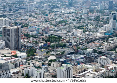 Bangkok, Thailand - July 17, 2016: Aerial view of Bangkok skyline from Baiyoke Sky Tower, the second tallest building in the city with a 360-degree revolving roof deck.