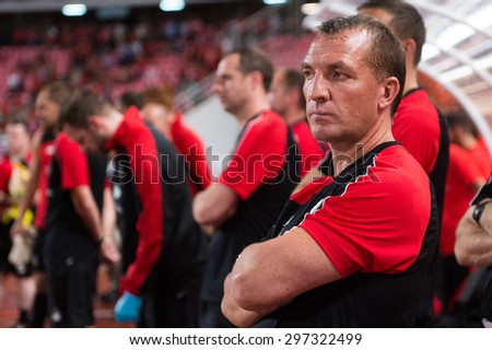 BANGKOK THAILAND JULY 14:Brendan Rodgers, Manager  of Liverpool in action during the international friendly match Thai All Stars and Liverpool FC at Rajamangala Stadium on July14,2015 in,Thailand. - stock photo