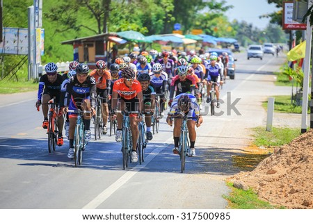BANGKOK,THAILAND - JULY 24, 2015: Cyclists from different teams competing. In the Thailand championship.