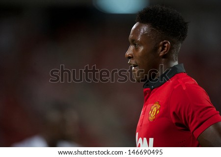 BANGKOK THAILAND-JULY13:Daniel Welbeck  of Manchester United look on during the friendly match between Singha All Star and Manchester United at Rajamangala Stadium on July13,2013 in Thailand. - stock photo