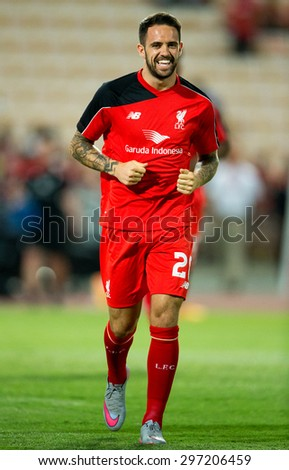 BANGKOK THAILAND JULY 14:Danny Ings of Liverpool run during the international friendly match Thai All Stars and Liverpool FC at Rajamangala Stadium on July14,2015 in,Thailand. - stock photo