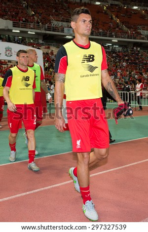 BANGKOK THAILAND JULY 14 :Dejan Lovren of Liverpool in action during the international friendly match Thai All Stars and Liverpool FC at Rajamangala Stadium on July14,2015 in,Thailand. - stock photo
