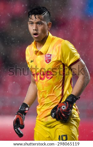 BANGKOK THAILAND JULY 14 :Goalkeeper Anusith Termmee of Thai All Stars action during the international friendly match Thai All Stars and Liverpool FC at Rajamangala Stadium on July14,2015 in,Thailand. - stock photo