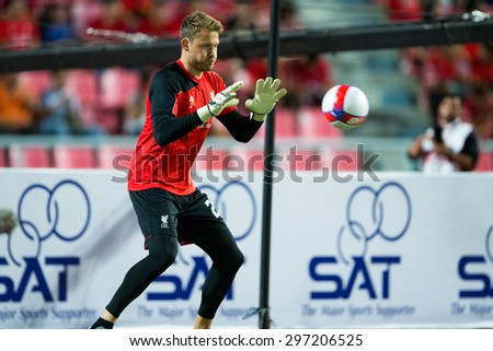BANGKOK THAILAND JULY 14:Goalkeeper Simon Mignolet  of Liverpool in action during the international friendly match Thai All Stars and Liverpool FC at Rajamangala Stadium on July14,2015 in,Thailand. - stock photo