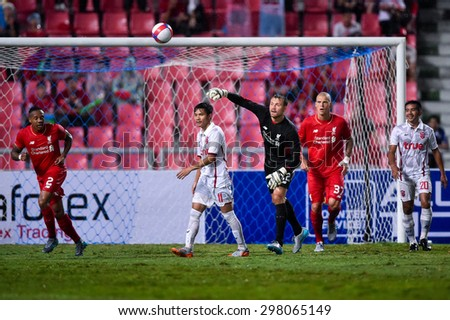 BANGKOK THAILAND JULY 14 :Goalkeeper Simon Mignoletof Liverpool in action during the international friendly match Thai All Stars and Liverpool FC at Rajamangala Stadium on July14,2015 in,Thailand. - stock photo