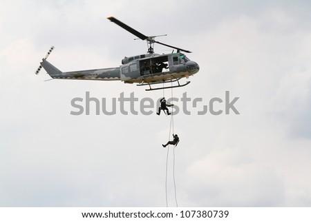 BANGKOK, THAILAND - JULY 02: Helicopter was shown at Cerebration of 100 year of Royal Thai air force (RTAF) at Don Muang airport on July 02,2012 in Bangkok, Thailand - stock photo