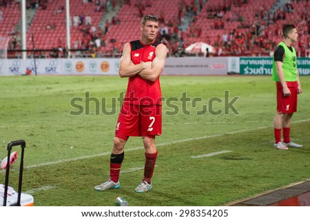 BANGKOK THAILAND JULY14:James Milner of Liverpool in action during the international friendly match between Thai All Stars and Liverpool FC at Rajamangala Stadium on July14,2015 in,Thailand. - stock photo