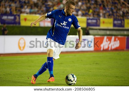 BANGKOK THAILAND JULY 27:jamie Vardy of Leicester City control the ball during the pre-season match between Leicester City and Everton at Supachalasai Stadium on July 27, 2014 in Bangkok, Thailand.  - stock photo